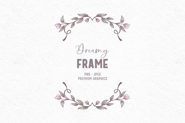 Hand-drawn flower frame clipart | Vintage floral clipart