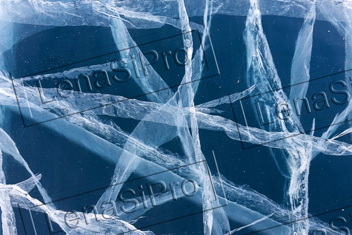 Texture of ice and cracks on the surface of Lake Baikal