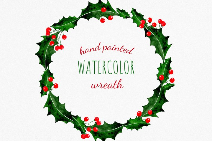Christmas holly berry wreath clipart for DIY cards