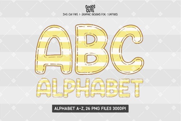Yellow Pastel Striped Doodle Alphabet - Sublimation PNG