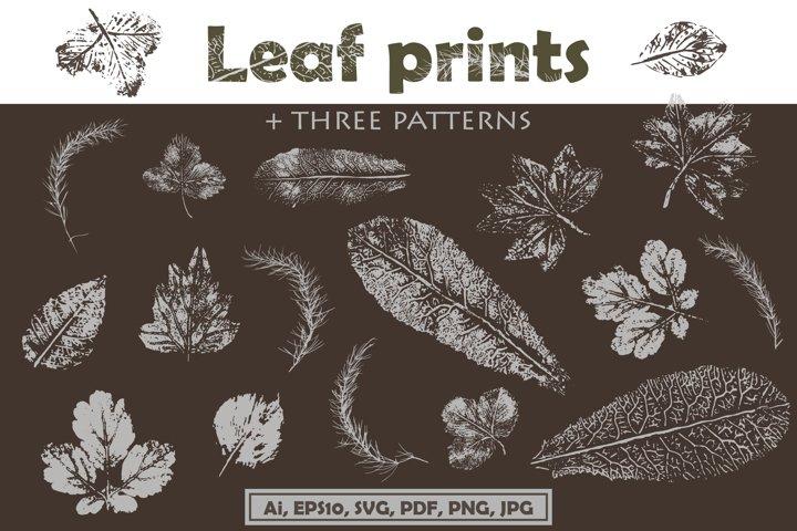 Leaf prints three patterns