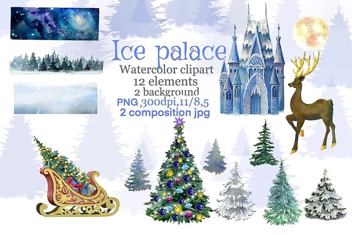 Christmas Ice palace watercolor clipart,Christmas blue winte