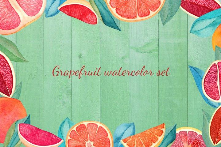 Grapefruit watercolor set