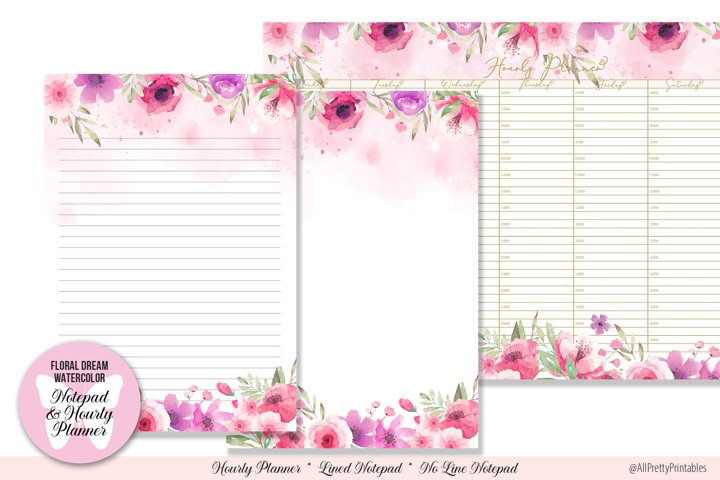 Floral Dream Watercolor Notepad and Hourly Printable Planner