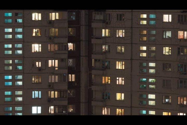 Night view of panel multistorey house