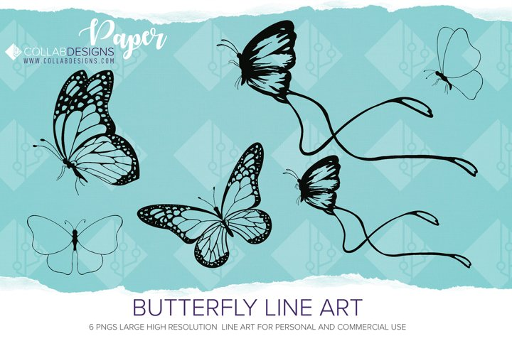 Butterfly Clipart line art PNGs