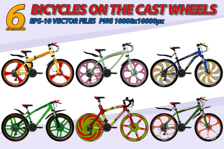 Bicycle on the cast wheels.