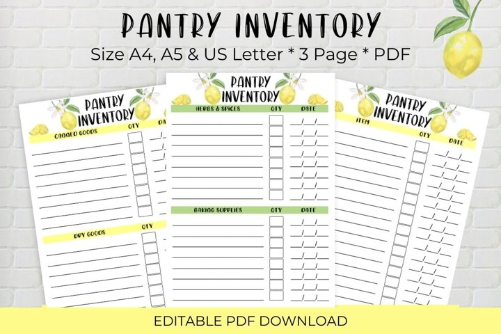 Pantry Inventory, Editable Printable