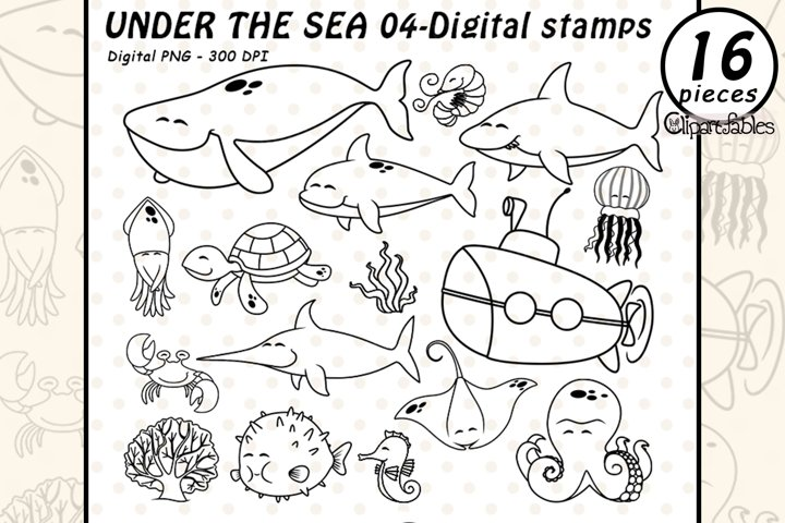 UNDER the SEA - DIGITAL STAMPS - Cute sea animals