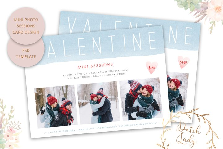 PSD Mini Session Photo Card Template - Valentines Day - #73