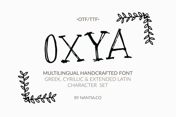 OXYA Cyrillic/Greek Handcrafted Font