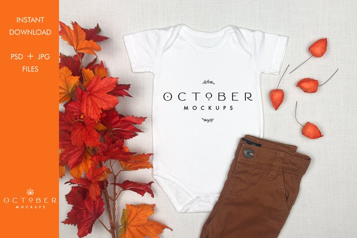 Fall Bodysuit Mockup | Baby mockup in JPG PSD smart object