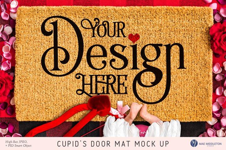 Door Mat mock up, Cupid