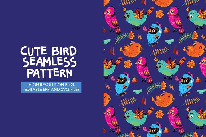 Cute Bird Seamless Pattern