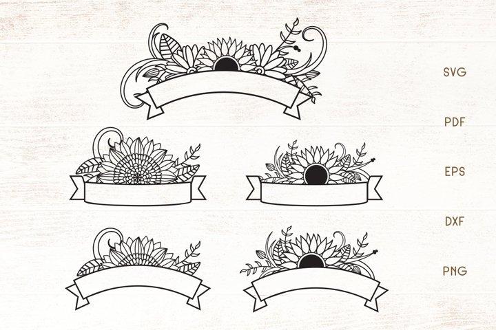 Sunflower Ribbon Banners SVG - Flower Ribbon Banner Elements