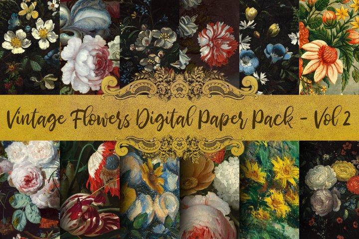 Vintage Flowers Oil Painting Digital Paper - Vol 2