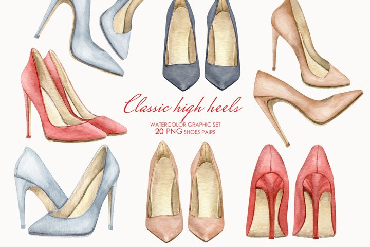 Watercolor High heels clipart. Fashion women shoes clipart