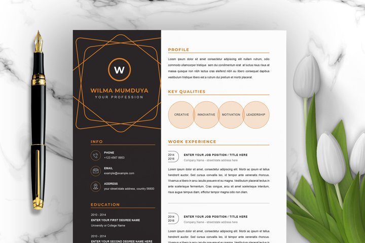 Creative resume template for Word | Instant Download CV