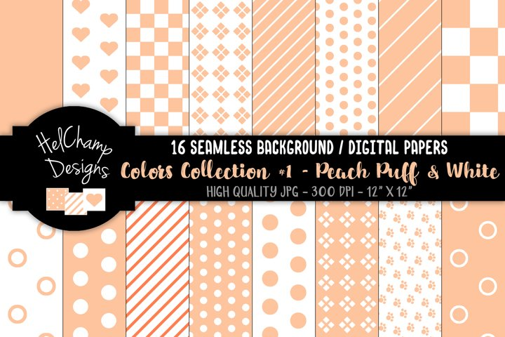 16 seamless Digital Papers - Peach Puff and White - HC098