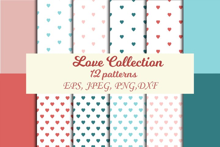 Valentines Day set of patterns. Valentines day pink postcard