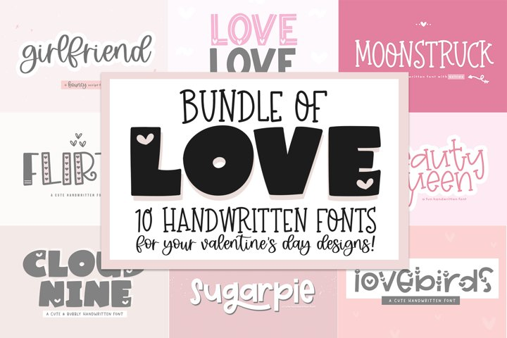 Font Bundle of Love - Valentines Day Fonts