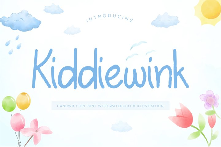 Kiddiewink Handwritten Font with Watercolor Illustration