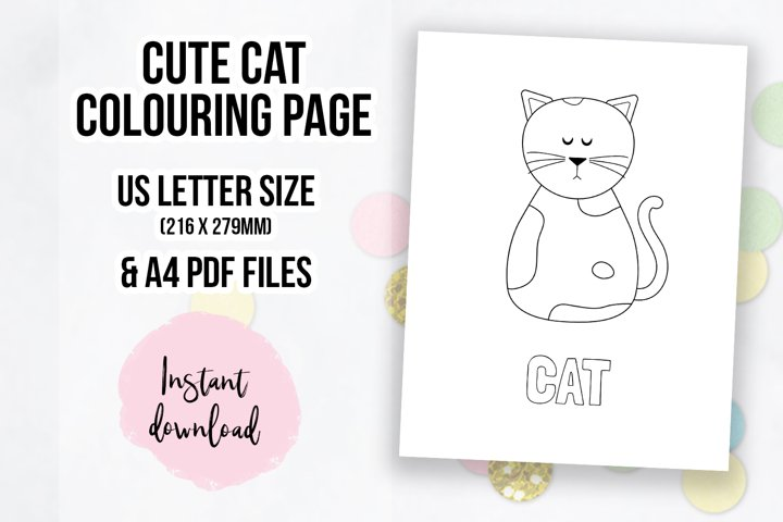 Cute Cat Coloring Page | Colouring Book Page