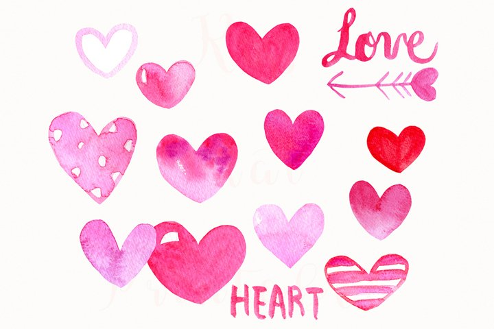 15 Watercolor Pink Hearts