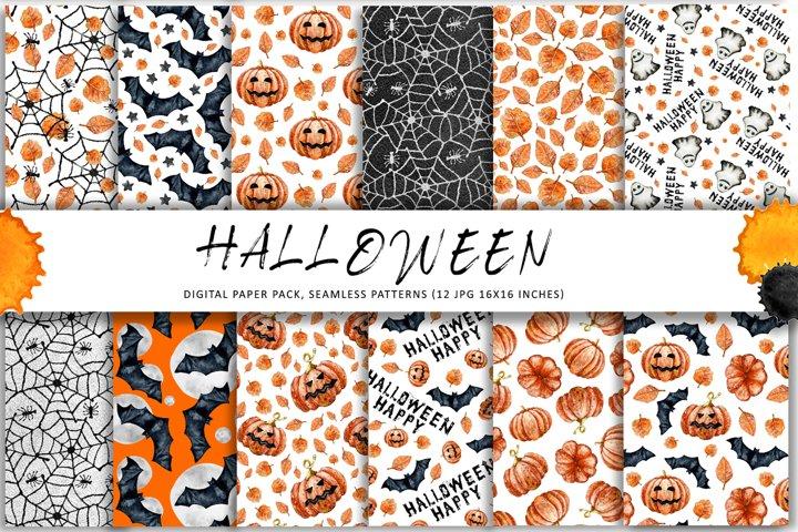 Halloween digital paper, seamless patterns, autumn