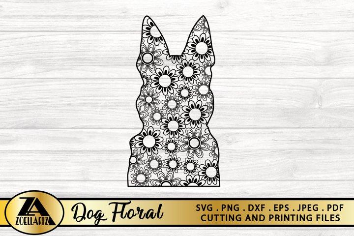 Dog SVG PNG EPS DXF Floral Mandala SVG Flower SVG Cut File
