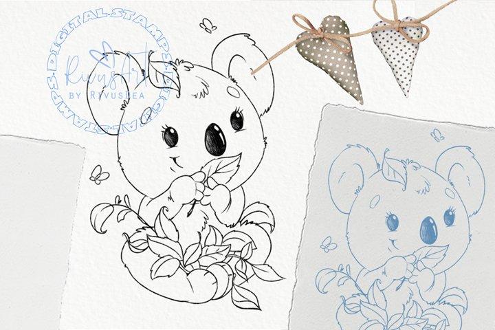 Koala Digital stamp - Cute baby animal coloring