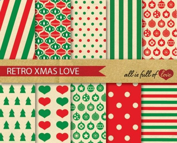 Christmas Digital Paper Pack Retro Xmas Background Patterns in red and green Vintage graphics