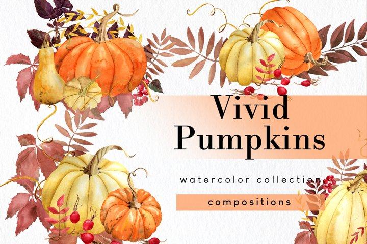 Fall pumpkin clipart set of 5 watercolor png arrangements