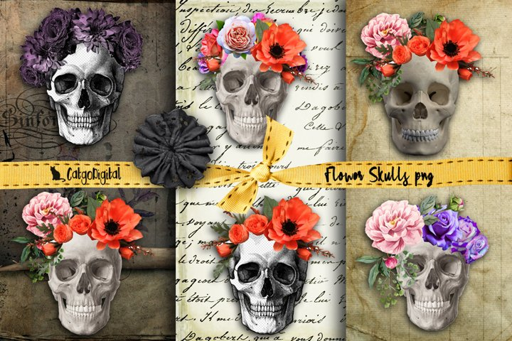 Flower Skulls Elements Halloween ClipArt