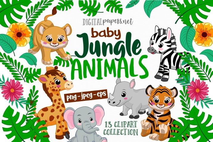 Jungle Babies Clipart Set