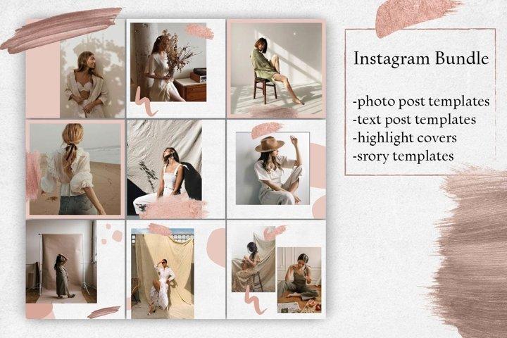 Minimal Instagram Bundle.Pink Instagram template.