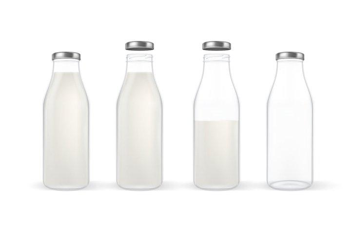 Milk bottle. Vector set.