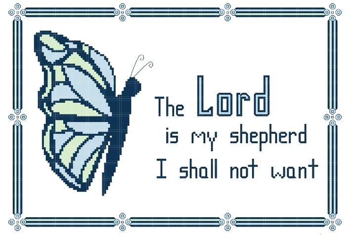 The Lord is My Shepherd Cross Stitch Pattern