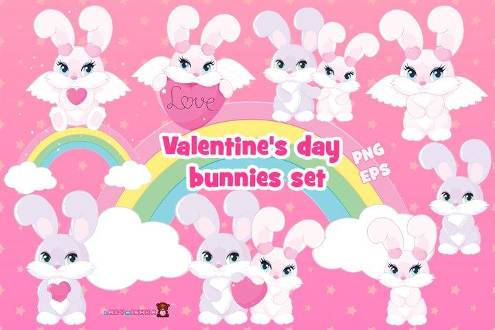 Valentines day Bunnies Set