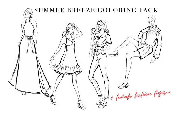 Female Figure Coloring Pack for Fashion Illustration