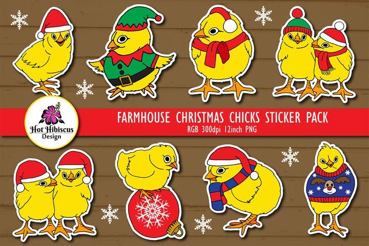 Farmhouse Christmas |Cute Christmas Chicks Stickers Bundle