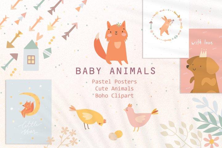 Cute Baby animals Boho clipart