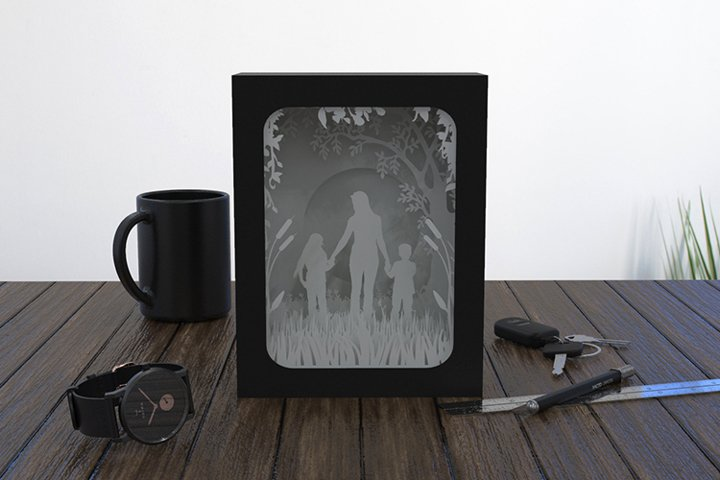 mother shadow box cutting template
