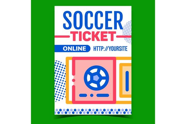 Soccer Ticket Online Purchase Promo Banner Vector