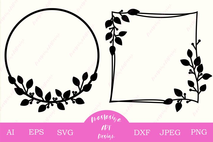 Monogram frame svg cut file, Leaves circle wreath, Square