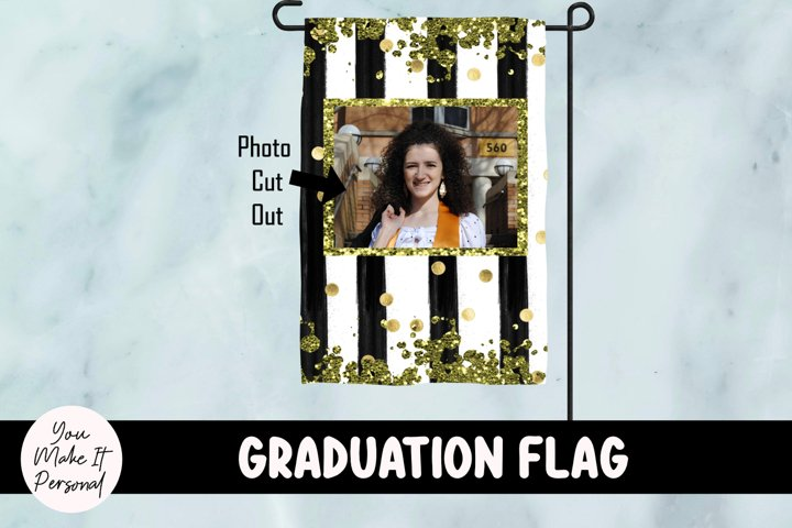 Graduation Garden Flag with Glitter and Stripes Design