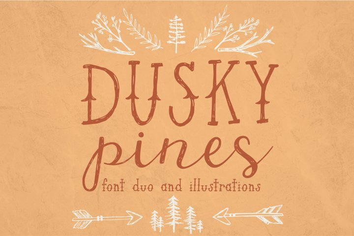 Dusky Pines Font and Illustrations