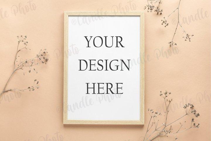 Wooden frame poster mockup beige background