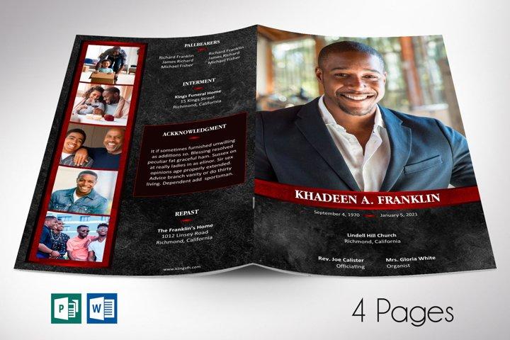 Black Rock Funeral Program Word Publisher Template