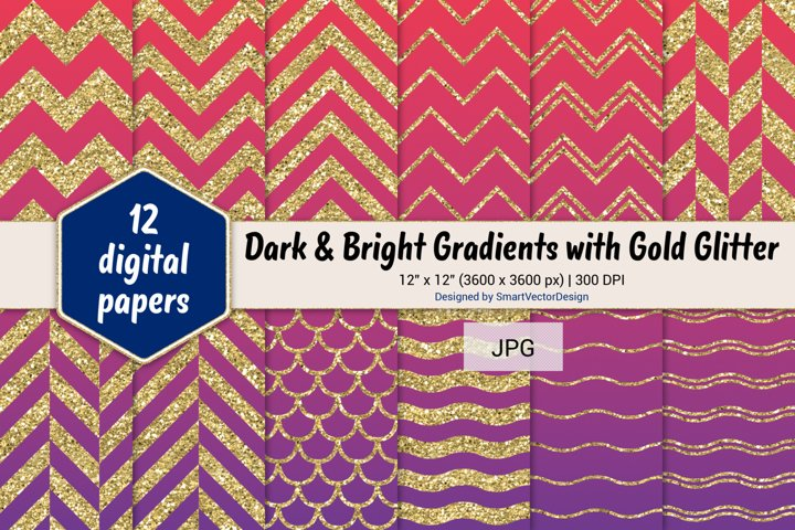 Chevron, Scales, & Waves - Gradients with Gold Glitter #56